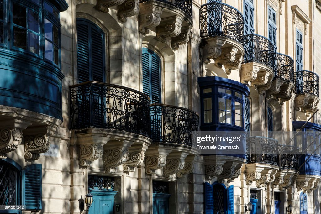 A traditional Maltese building with enclosed balconies on December 8, 2017 in Valletta, Malta. Valletta, a fortified town that dates back to the 16th century, is the southernmost capital of Europe and a UNESCO World Heritage Site: it will be hosting the title of European Capital of Culture in 2018.