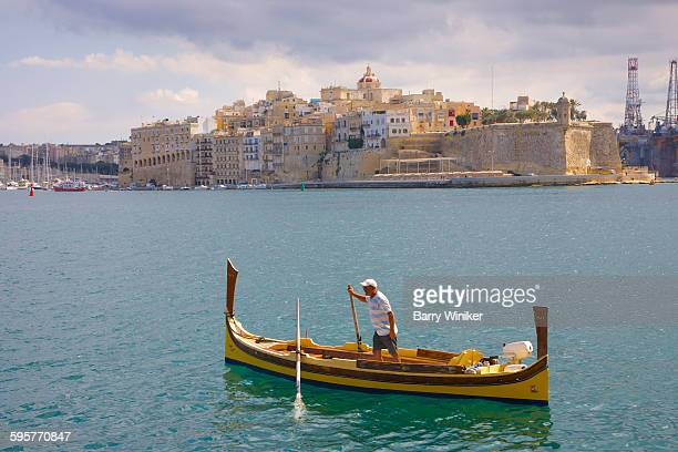 Traditional Maltese water taxi in Valletta