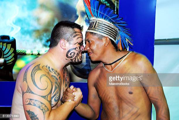Traditional Maori New Zealand greeting.