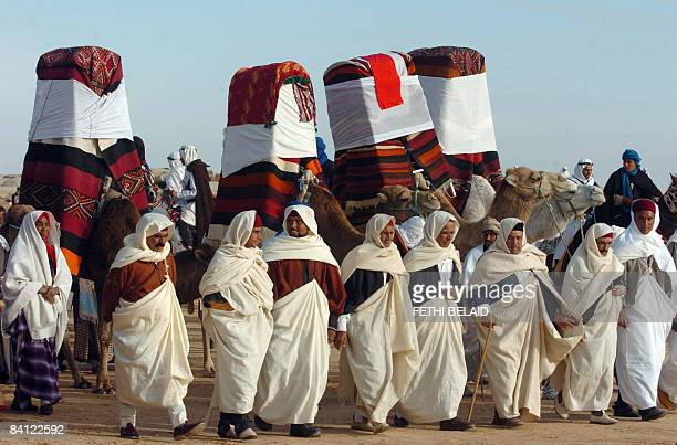 A traditional marriage takes place during the opening of the Sahara International Festival in Douz southwestern Tunisia on December 25 2008 The 41st...