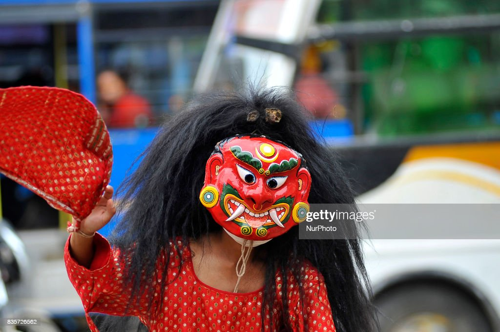 A Traditional Mask Dancer 'Lakhay' dancing to during welcome after participating 20Km Ride to Khokana, Cycling for the Cause, Contribute to Restoring Cultural Heritage program from Kasthamandap to Khokana, organised by Khokana Reconstruction and Rehabilitation Committee on Saturday, August 19, 2017.
