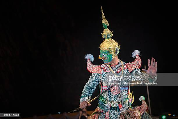 Traditional masked dance drama from Thailand - Khon dancing during the Thai Royal Cremation Ceremony for King Rama IX at Pattaya city, Chonburi province on Dec 16,2016