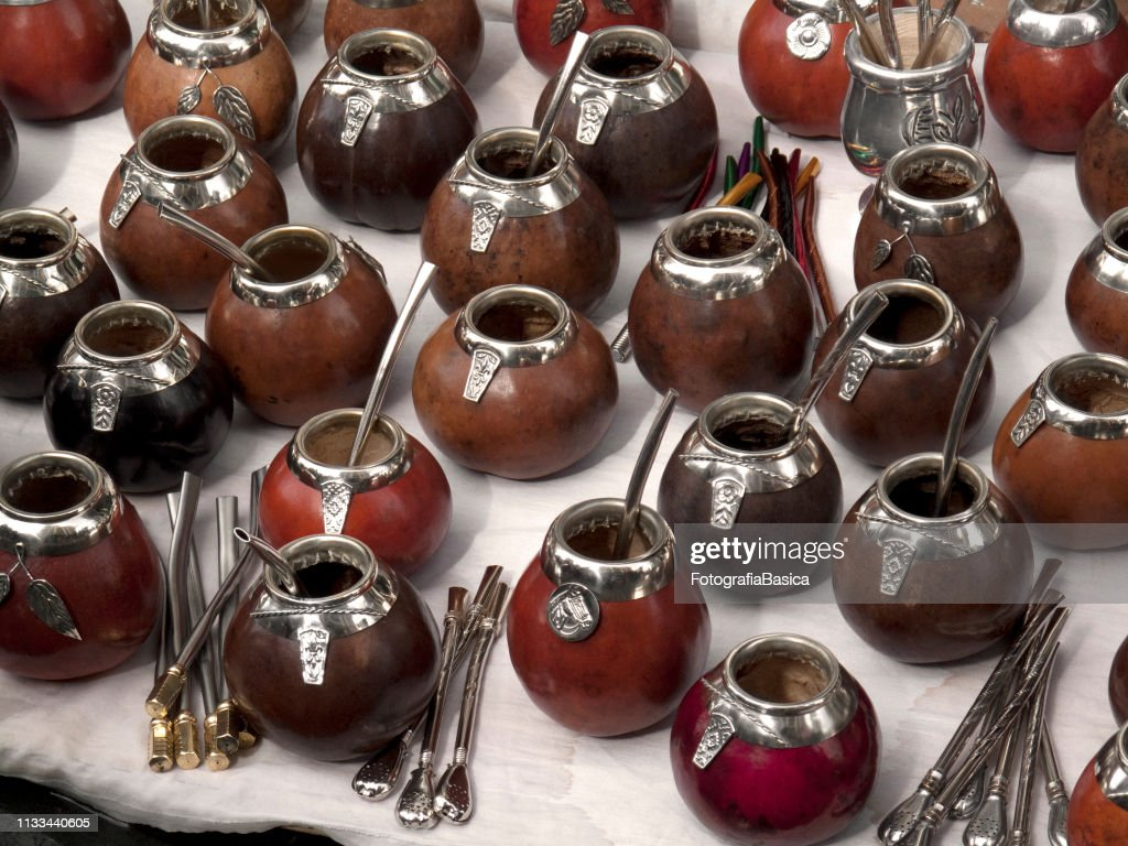 Traditional 'mates' and 'bombillas' for sale : Stock Photo