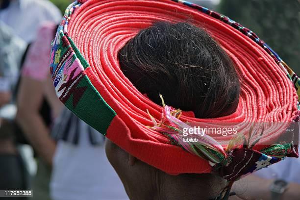 Traditional Mayan hat in village Santiago Atitlan, Guatemala