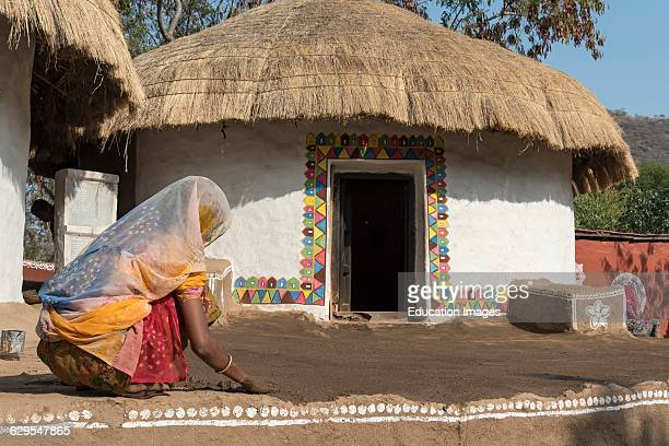 Traditional Meghwal Banni Tribal House from Gujarat preserved in Shilpgram Crafts Village near Udaipur India