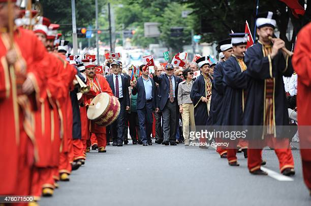 Traditional Mehteran parade during the 125th Commemoration of Ottoman Ertugrul imperial frigate in the Tokyo Omotesando district in Japan on June 6...
