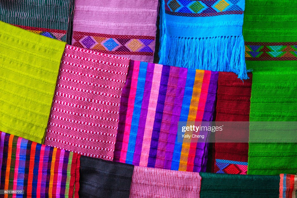 Traditional Mexican Handwoven Textiles Stock Photo