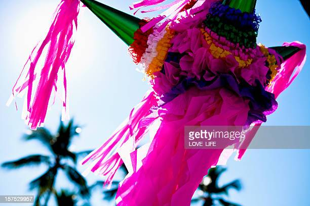 Traditional Mexican pinata in pink hanging from a palm tree