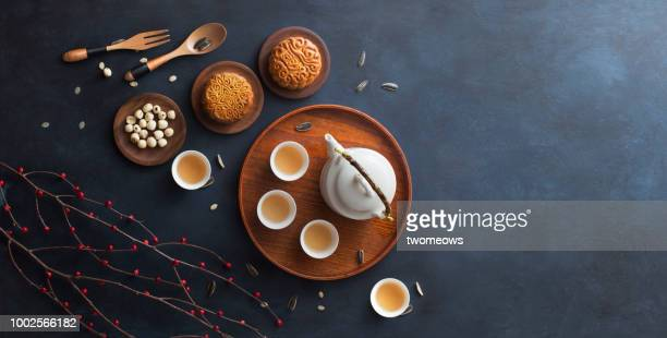 traditional mid autumn festival mooncake afternoon tea. - moon cake stock pictures, royalty-free photos & images