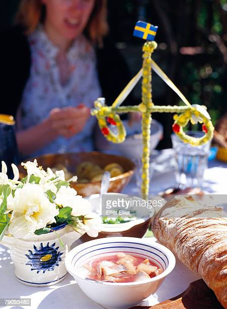 traditional midsummer food. - midsummer sweden stock pictures, royalty-free photos & images
