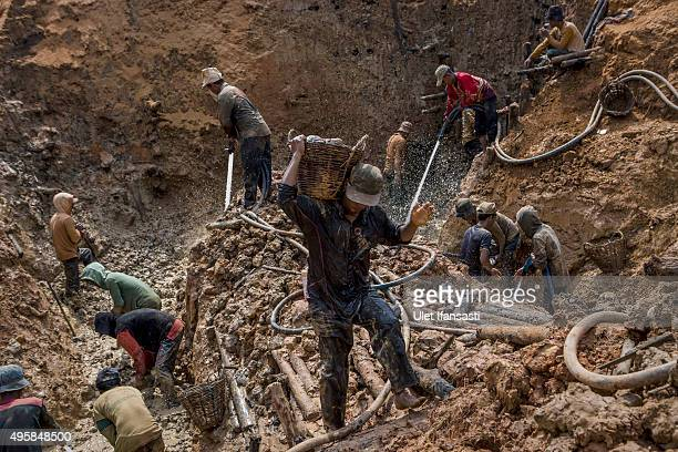 Traditional miners dig in mud as they search for diamonds in Cempaka village at Martapura also known as the City of Diamond on November 4 2015 in...