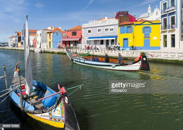 Traditional Moliceiro Boats. Canal Central. Aveiro. Because of the many channels Aveiro is called the venice of Portugal. Europe. Southern Europe....