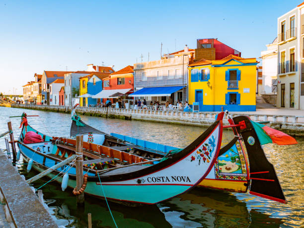 """Traditional """"Moliceiro"""" painted in bright colors in the old Beira Mar district"""