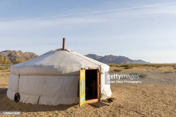 traditional mongolian ger in khogno khan national park, mongolia. - yurt stock pictures, royalty-free photos & images