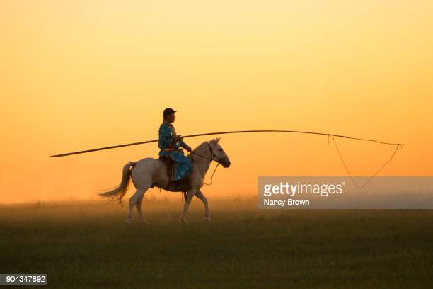 Traditional Mongolian Horseman and Horse Holding Uurga in Inner Mongolia.