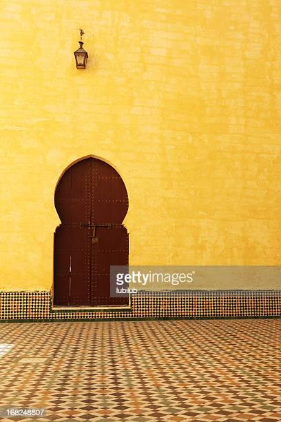 traditional moroccan door inside the mausoleum of moulay ismail - arabic script stock pictures, royalty-free photos & images