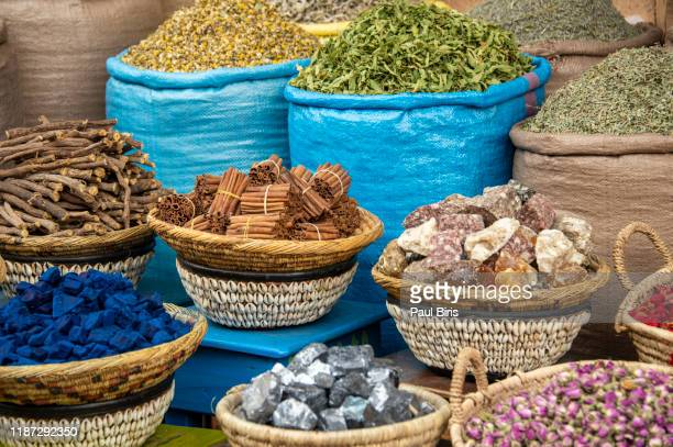 traditional moroccan dried herbs, spices and different organic products for beauty and health - 異国情緒 ストックフォトと画像