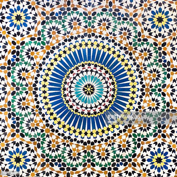 traditional moroccan mosaic tiled wall - moroccan culture stock photos and pictures