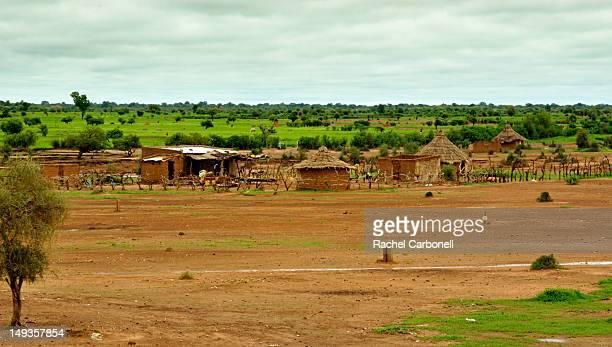 Traditional mud village in green savanna.