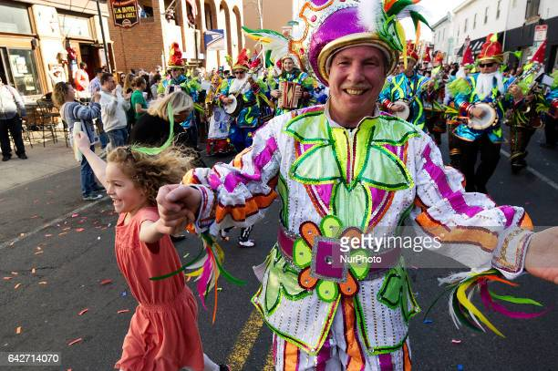 Traditional Mummers strut in celebration of Mardi Grass during a parade in Philadelphia PA on February 18th 2017 Thousands come out to see the...