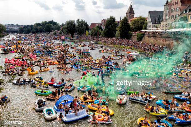 traditional nabada water carnival festival in ulm, germany - ulm stock pictures, royalty-free photos & images