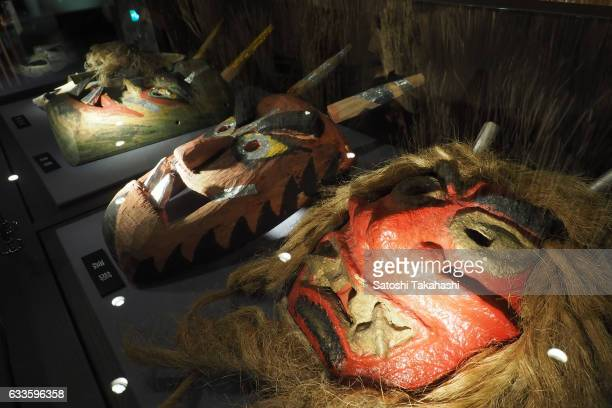 Traditional Namahage masks are being displayed in the Namahage museum There are many different kinds of masks by each district of Oga city