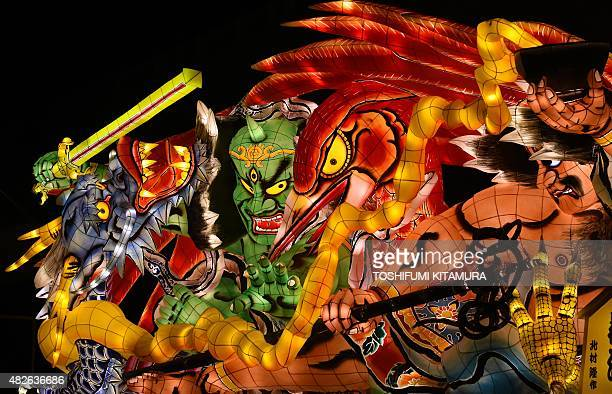 A traditional Nebuta float is on display during the eve of the Nebuta summer festival in Aomori city Aomori prefecture on August 1 2015 Millions of...