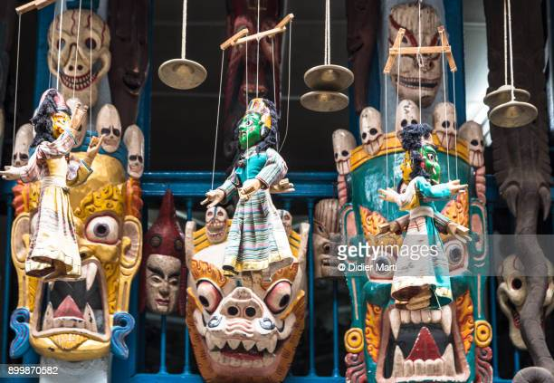 traditional nepalese masks and puppets - didier marti stock photos and pictures