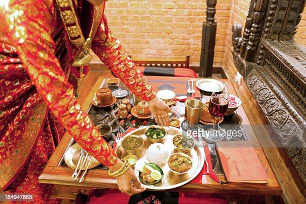 traditional nepali restaurant - nepal stock pictures, royalty-free photos & images