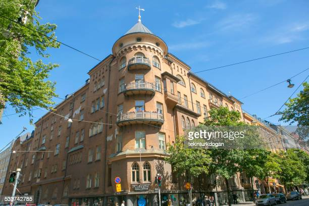 traditional old apartment houses at helsinki finland