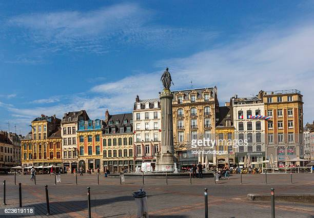 traditional old buildings by downtown street at lille france - リール市 ストックフォトと画像