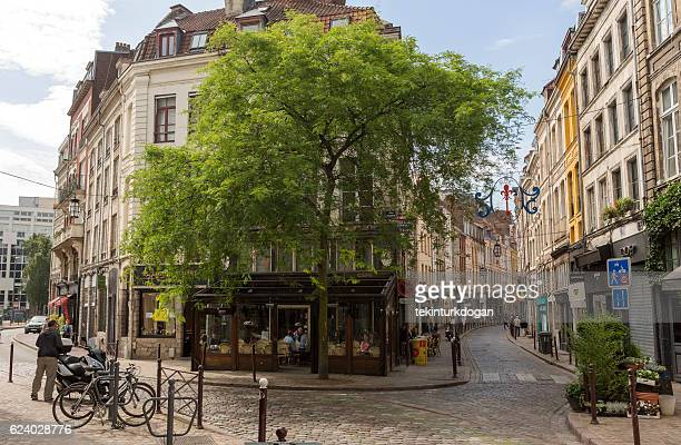 traditional old buildings by street at lille france - lille stock pictures, royalty-free photos & images