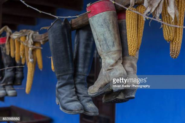 Traditional Old Dancing Boots Hanging as Decorations in Szék, Transylvania