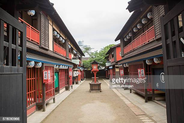 traditional old japanese town buildings in toei studio kyoto japan