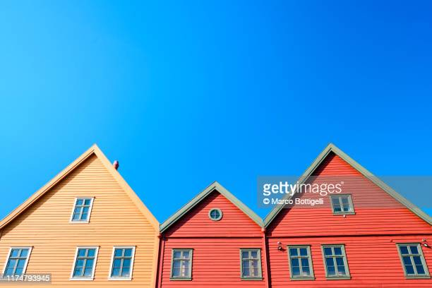 traditional old timber houses in bryggen, bergen, norway - bergen norway stock pictures, royalty-free photos & images