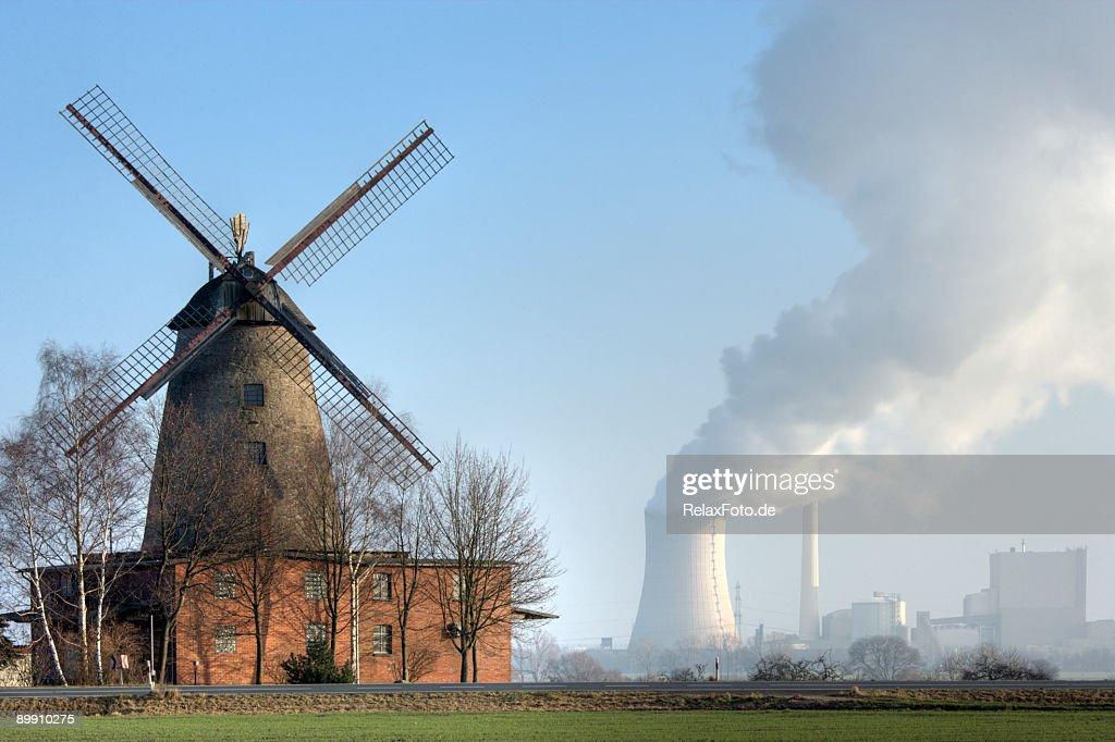 Traditional old windmill and coal-fired power station countryside (XXL) : Stock Photo