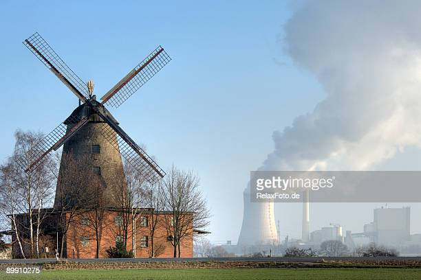Traditional old windmill and coal-fired power station countryside (XXL)