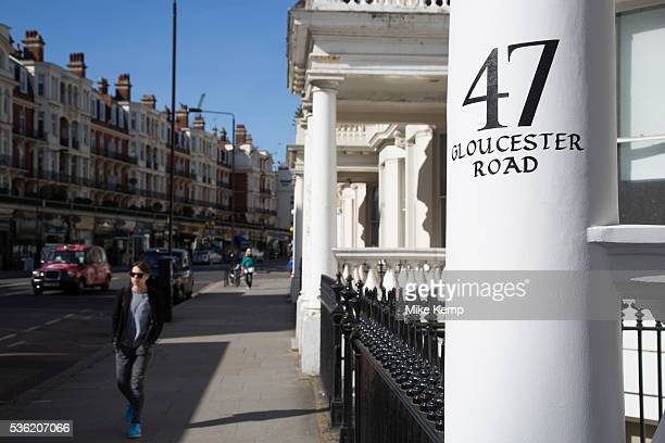 Traditional painted house numbers on columns of homes on Gloucester Road in Knightsbridge In a selected few boroughs of West London wealth has...