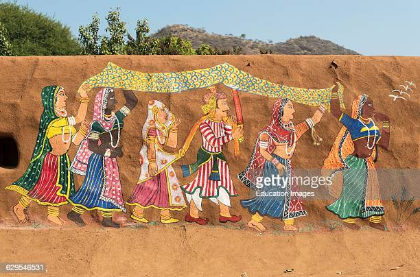 Traditional Painting On Clay Wall In Rural Rajasthan Shilpgram Crafts Village Near Udaipur India