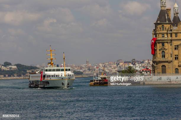 traditional passenger boat at coast of bosphorus near kadikoy istanbul turkey - haydarpasa stock photos and pictures