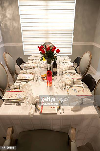 traditional passover seder table - passover seder stock pictures, royalty-free photos & images
