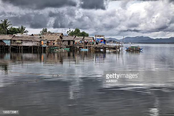 Traditional Philippine village on the water