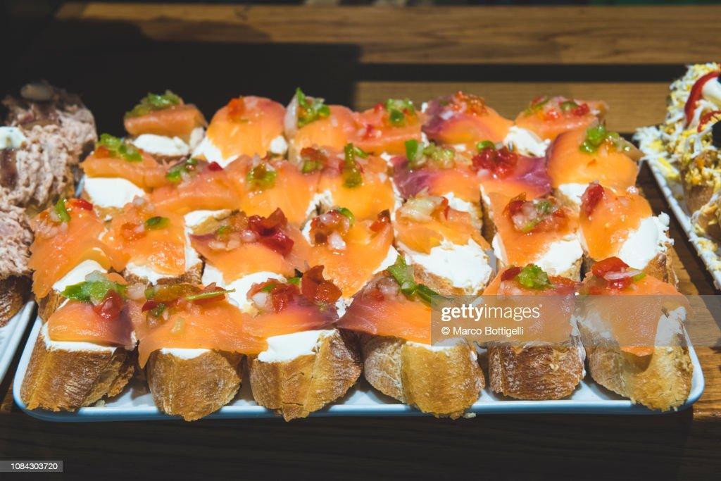 Traditional Pinchos Snacks In San Sebastian High Res Stock