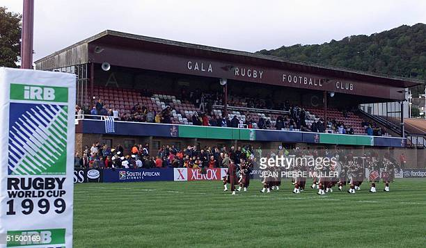 A traditional pipeband plays on the field of Galashiels rugby stadium at half time at Spains first pool match in the rugby World Cup against Uruguay...