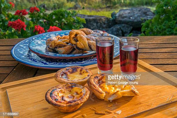 Traditional port wine, egg tarts and pastries
