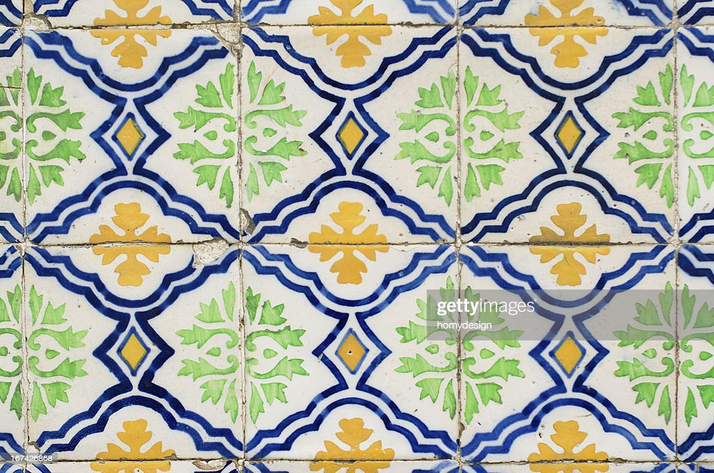 Traditional Portuguese glazed tiles : Stock Photo