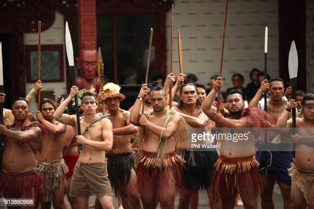 A traditional Powhiri is given to the New Zealand Governor General Dame Patsy Reddy at Te Whare Runanga on the Waitangi Treaty Grounds on February 4...