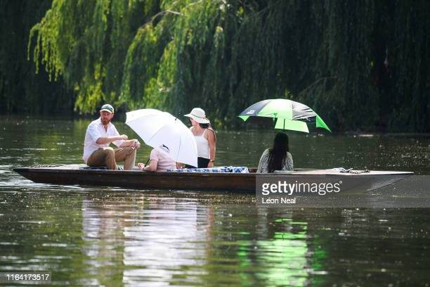 A traditional punt floats on the River Cam on July 25 2019 in Cambridge United Kingdom The Met Office issued a weather warning from 3pm this...