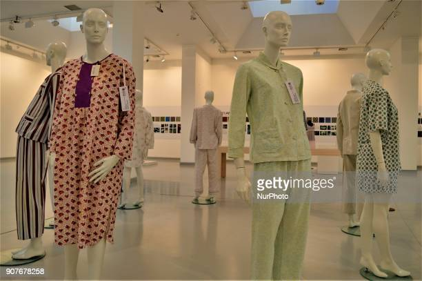 Traditional pyjamas are seen as a part of the 'Dressing A Nation Sumerbank Patterns Between the Years of 19562000' Exhibition in Ankara Turkey on...