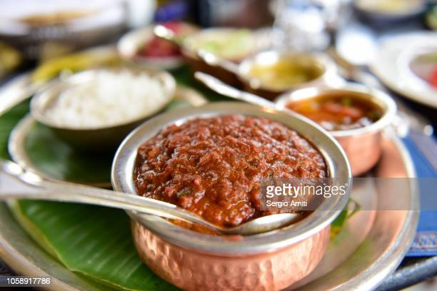 traditional rajasthani thali - udaipur stock pictures, royalty-free photos & images